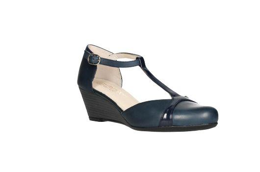 Gody zapato lados descubiertos piel azul tira
