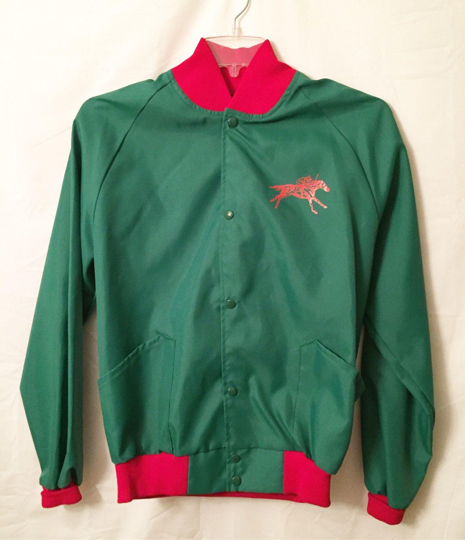 Green Horse Racing Coat Buckram Oak Farm Jacket Kentucky Derby Mens Womens Unisex Size Large Vintage Jockey Equestrian Jacket Keeneland by HollyDollyVintageCo on Etsy https://www.etsy.com/listing/478020516/green-horse-racing-coat-buckram-oak-farm