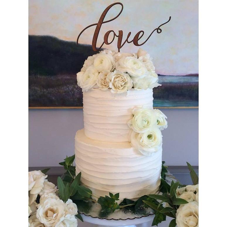 Textured Buttercream Wedding Cake, Fresh Flowers