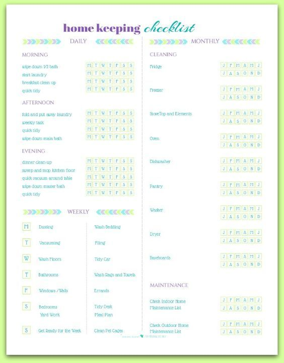Free Home Keeping Checklist Printable cleaning and organization