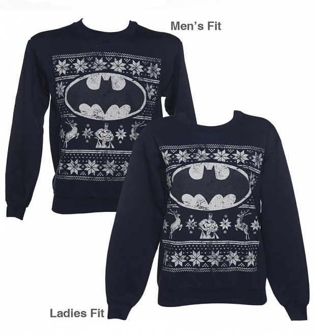 Unisex Navy DC Comics Batman Fair Isle Christmas Sweater ...