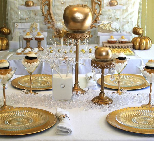 Gold Dinner Party Decor Gold Party Dinner Party Snow White Party