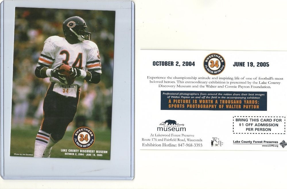 c.2004 WALTER PAYTON Lake County Museum postcard promo