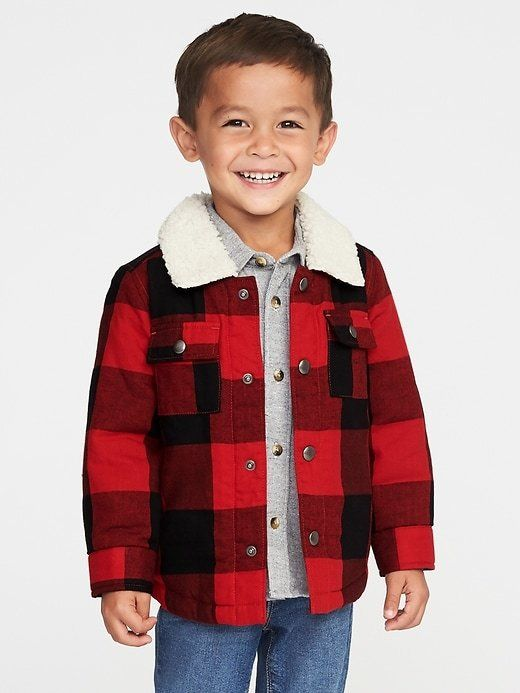 2d03a1ada Sherpa-Lined Plaid Shirt Jacket for Toddler Boys