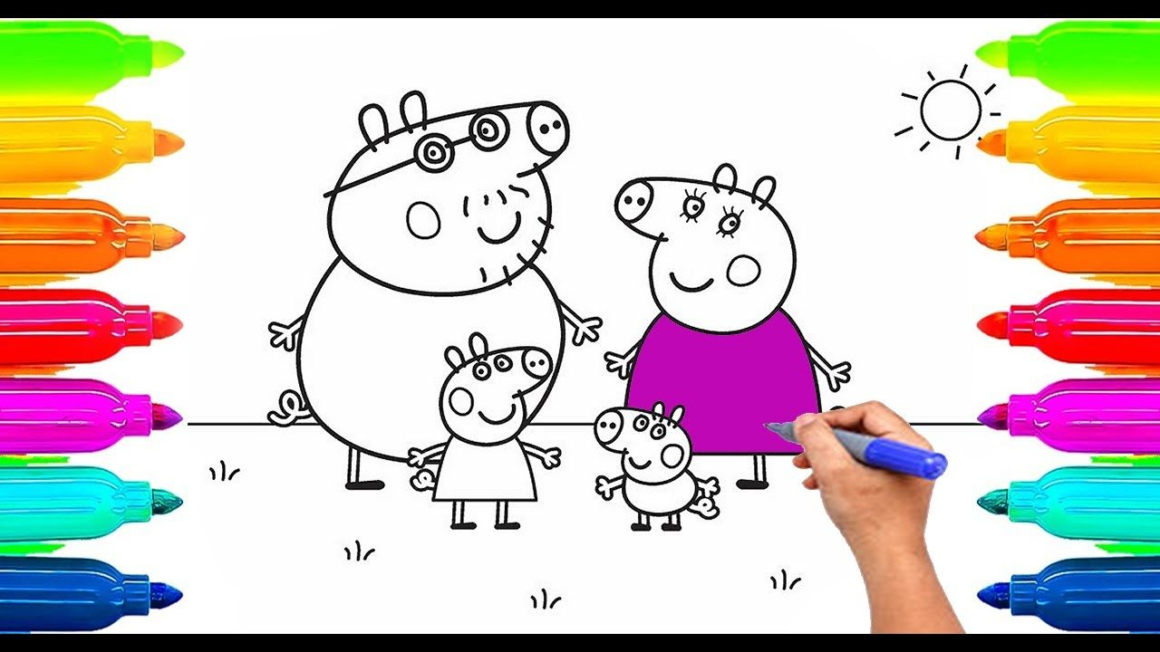 How To Draw Peppa Pig Coloring Book For Kids Learning Paint With Colored Markers If You Like Our Channel Please Subscr Kids Learning Coloring Books Drawings