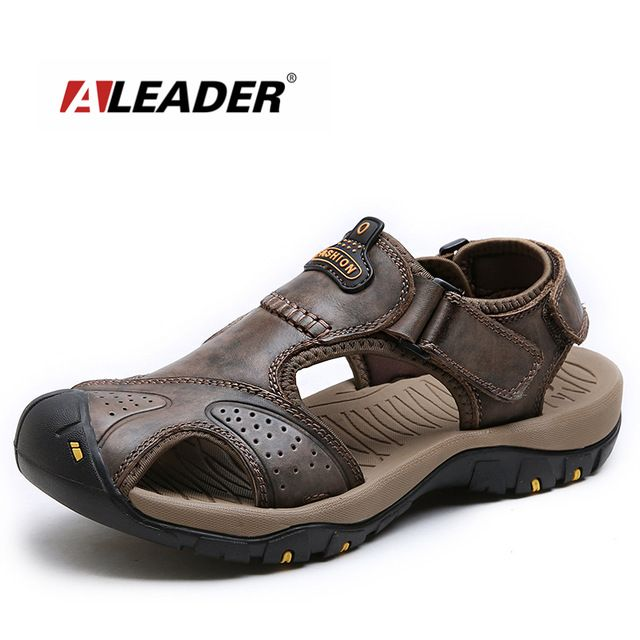45d50f0c7 Aleader 2017 Casual Men Beach Sandals Summer Leather Shoes Breathable  Outdoor Men Sandals Comfortable Designer Shoes Sandalias -in Men s Sandals  from Shoes ...
