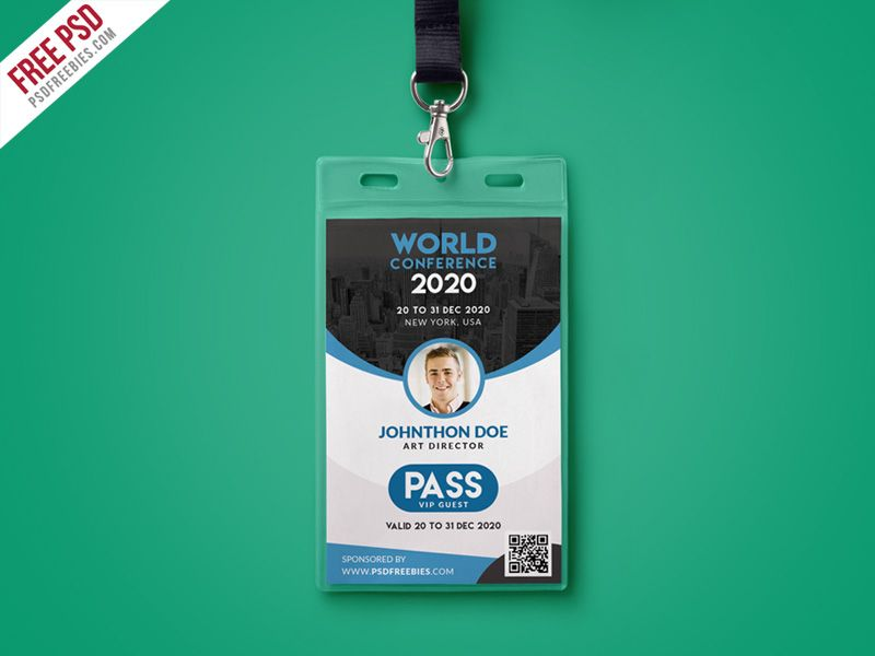 Nice Conference VIP Entry Pass ID Card Template PSD Download Free - id card psd template