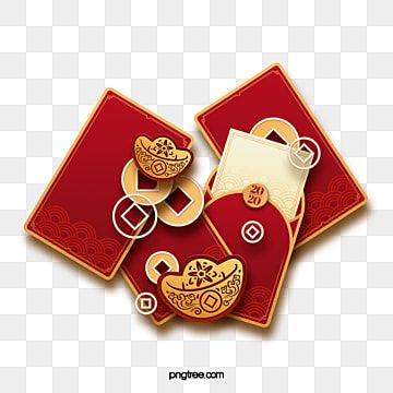 Chinese new year red envelope banknote ingot decoration PNG and PSD