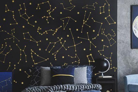 27 Zodiac Constellation Wall Decals Star Decals Zodiac Gift Vinyl Wall Decals Star Wall Sticker Vinyl Wall Decals Constellations Wall Decals