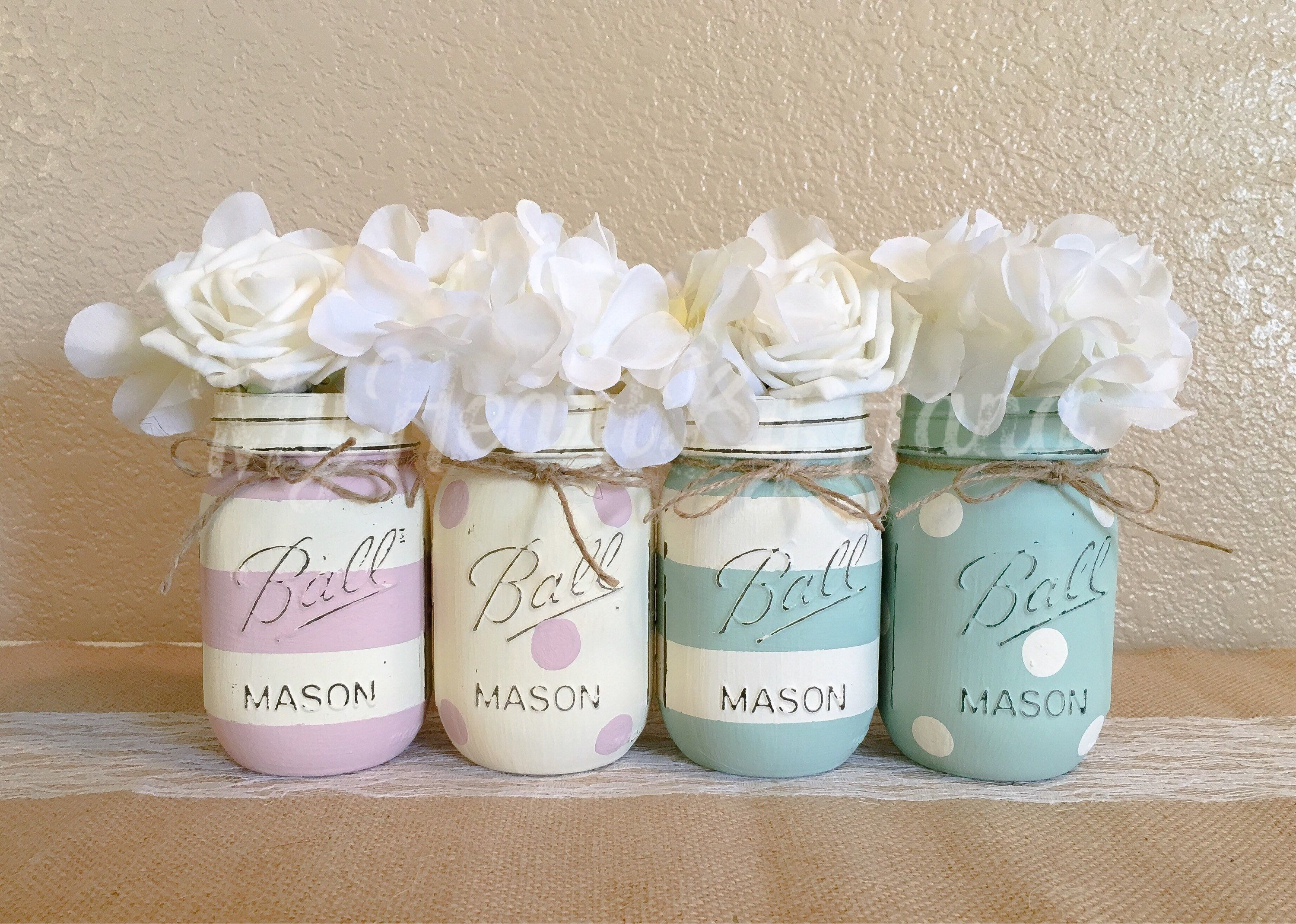 Blush Pink, Mint Green, Cream Ivory, Painted Mason Jars, Rustic Baby ...