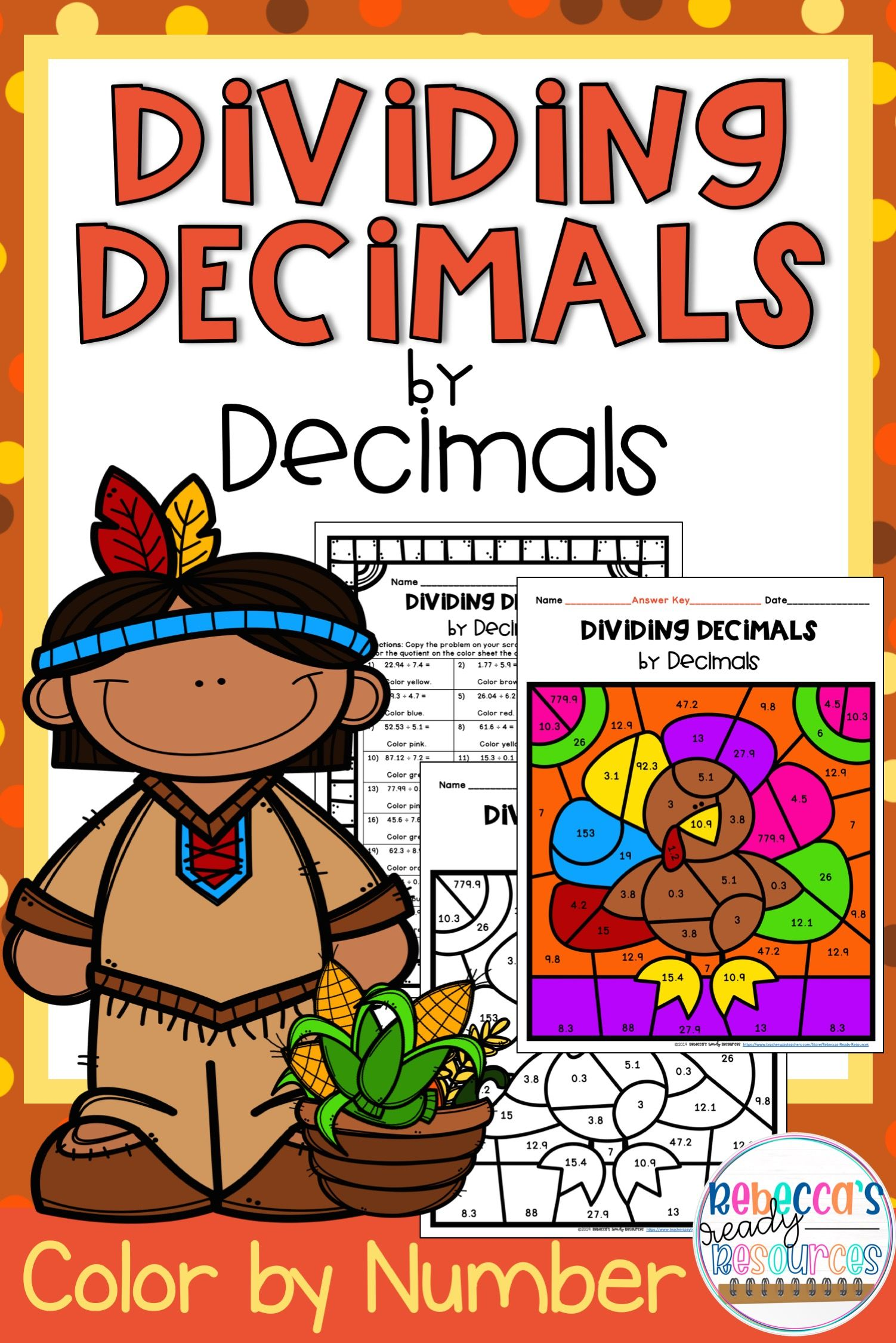 Dividing Decimals Color By Number Thanksgiving Theme