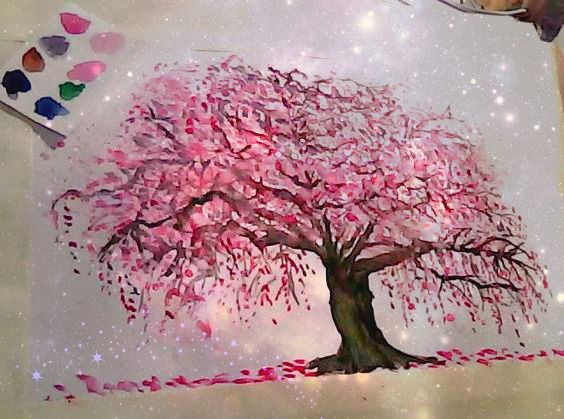 Watercolor Japanese Cherry Blossom Tree Japanese Cherry Blossom