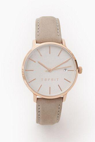 Esprit / Roodgoudkleurig horloge met leren bandje €120