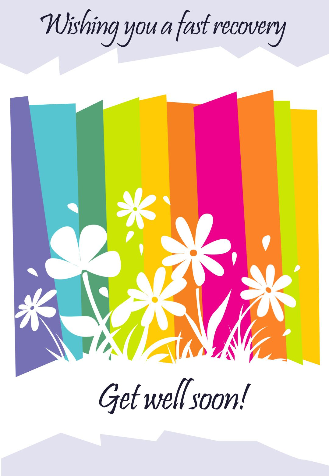Get well card free printable fast recovery flowers