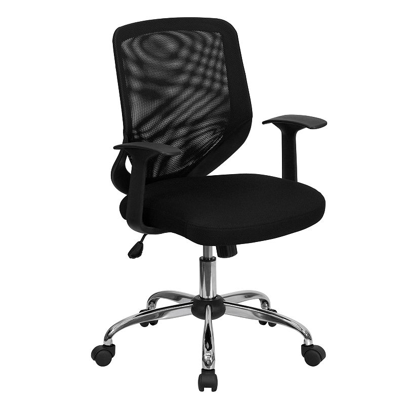 Incredible Mid Back Mesh Swivel Task Chair With Arms Products Black Pdpeps Interior Chair Design Pdpepsorg