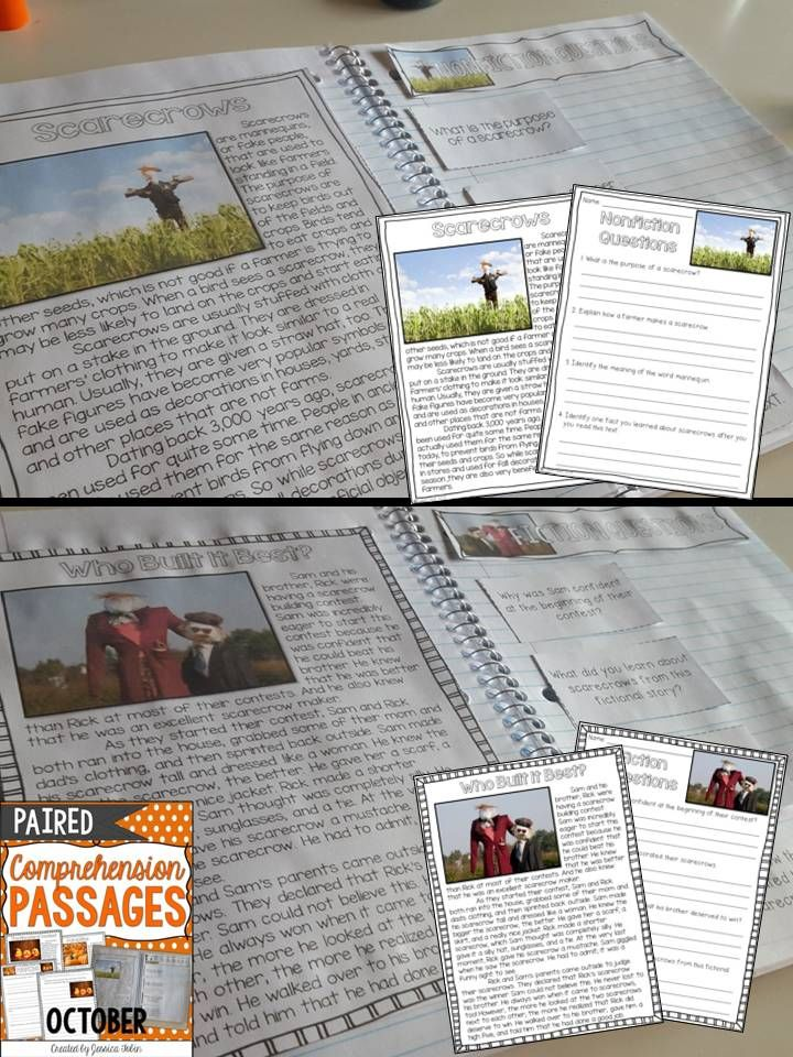 Paired Passages October Literacy Middle School Reading