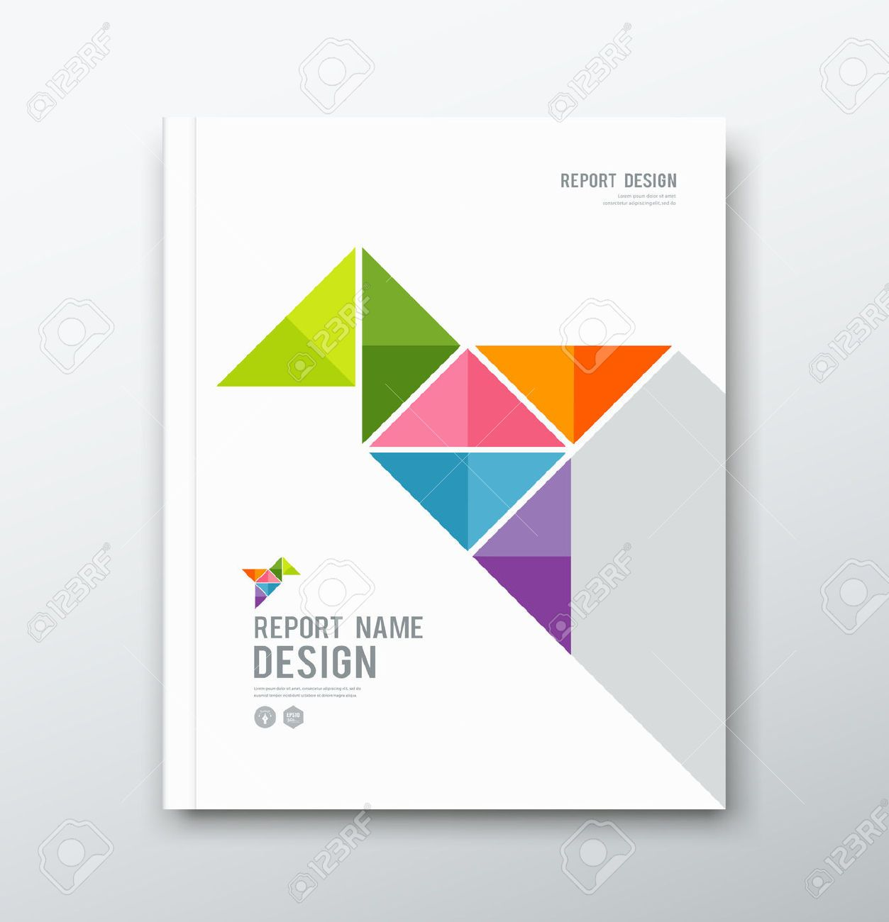 Cover Annual Report Colorful Bird Origami Paper Design Graphic