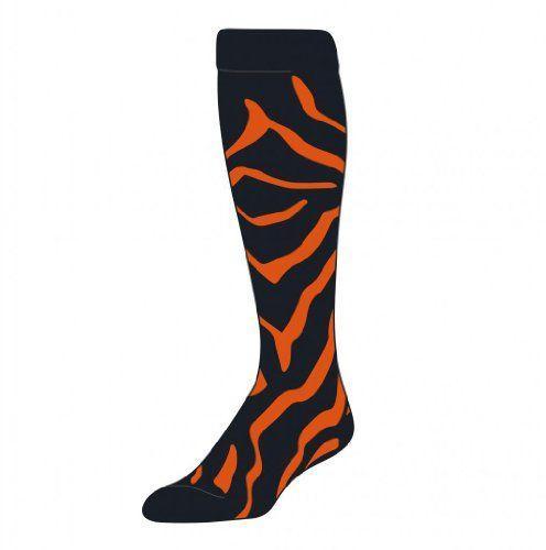 Tck Zebra Stripe Socks Black Orange Medium Tck Sports Http Www Amazon Com Dp B00fb2z156 Ref Cm Sw R Pi Dp Q7boub0m Striped Socks Over The Calf Socks Socks