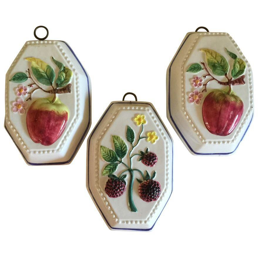 Italian Ceramic Fruit Decor Set Of 3 On Chairish