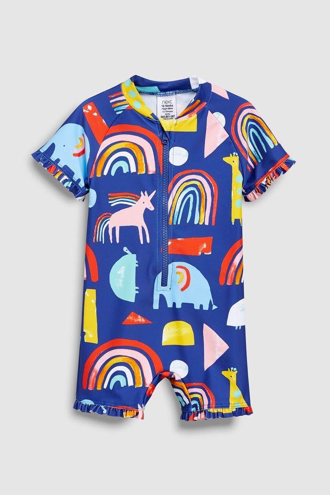 d1c7194d06f8a Girls Next Navy Print Sunsafe Suit (3mths-7yrs) - Blue | Deedys baby ...