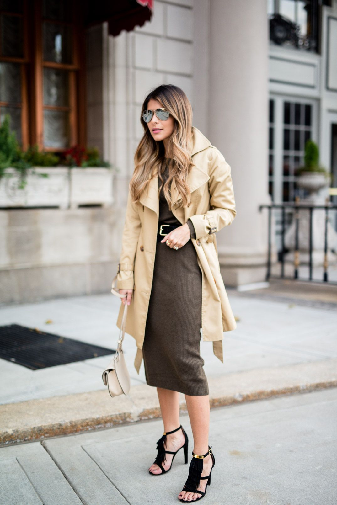 Sweater Dress and Trench Coat | Chloe georgia bag, Trench and Midi ...
