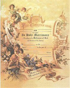 vintage wedding certificate  Victorian Angels Marriage Certificate | Bridal Accessories ...