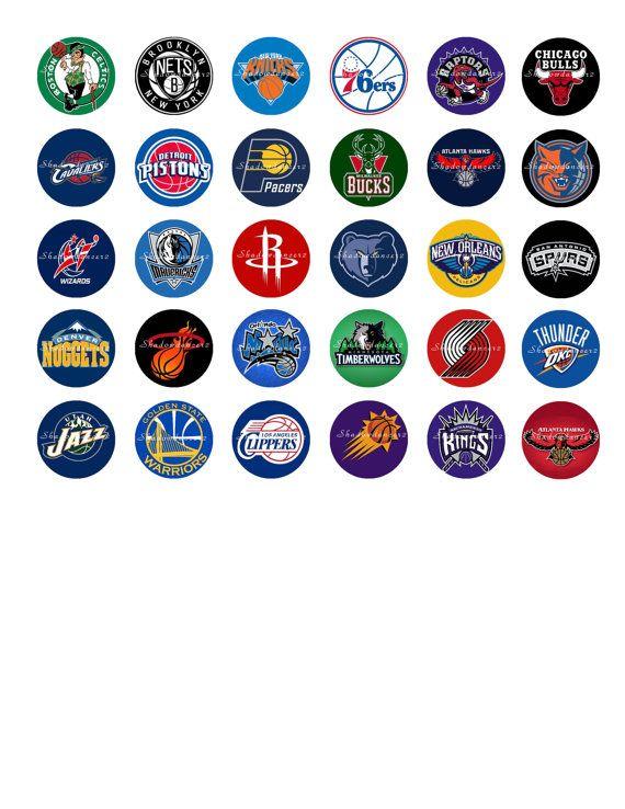 Nba Basketball Logos Printable Digital Collage By Shadowdancer2 3 00 Bottle Cap Images Bottle Cap Crafts Bottle Cap