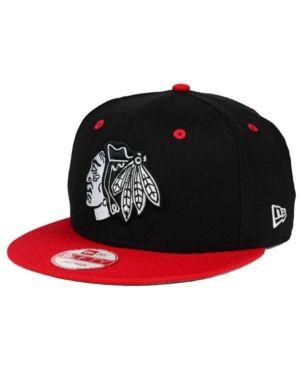 buy popular d9f6d 1e930 New Era Chicago Blackhawks Black White Team Color 9FIFTY Snapback Cap -  Black Red Adjustable