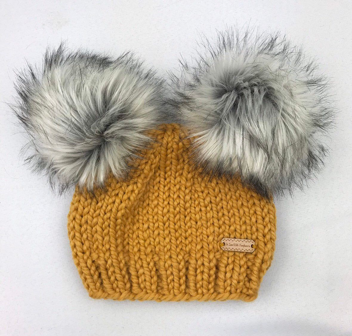 de8e2ae4a Double Pom Pom Beanie with Faux Fur in your choice of color - Chunky ...