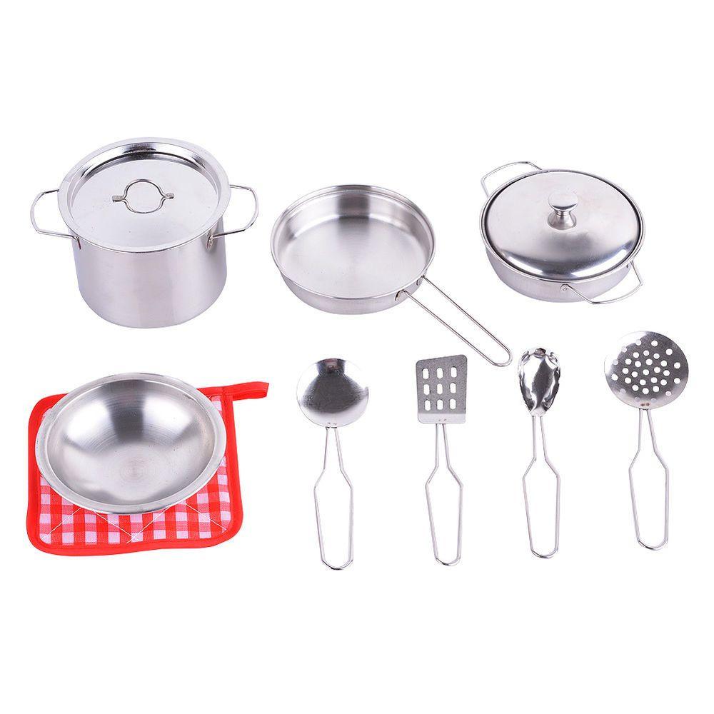 Kids Pretend Toy Metal Pots Pans Kitchen Cookware Playset w/Cooking ...
