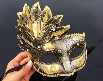 black & gold masquerade mask – Etsy