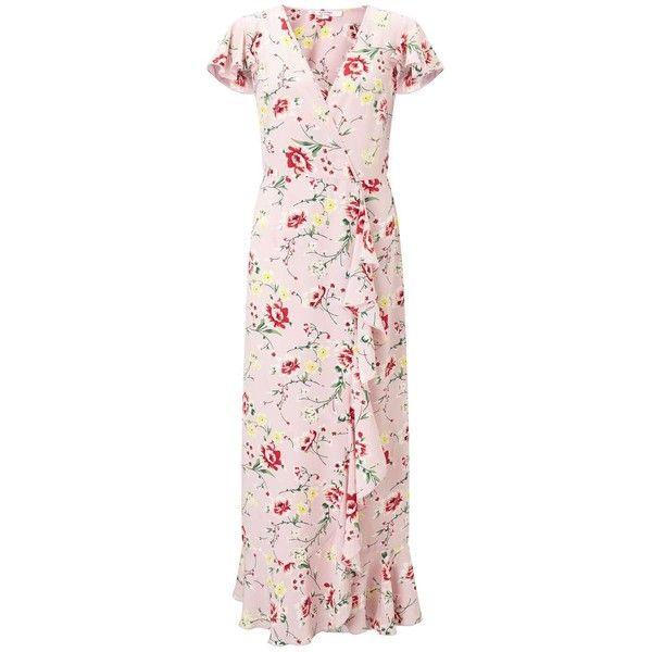 cd88d84b2 Miss Selfridge PETITE Floral Print Maxi Dress ($106) ❤ liked on Polyvore  featuring dresses, petite, pink, flower print maxi dress, floral dresses,  petite ...