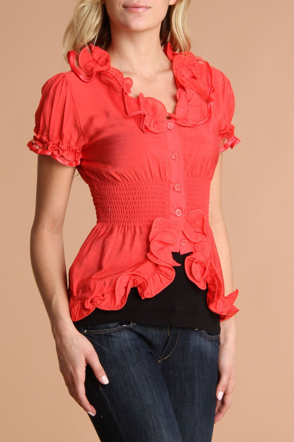 MOON RIVER Button-Down Ruffle Top In Coral