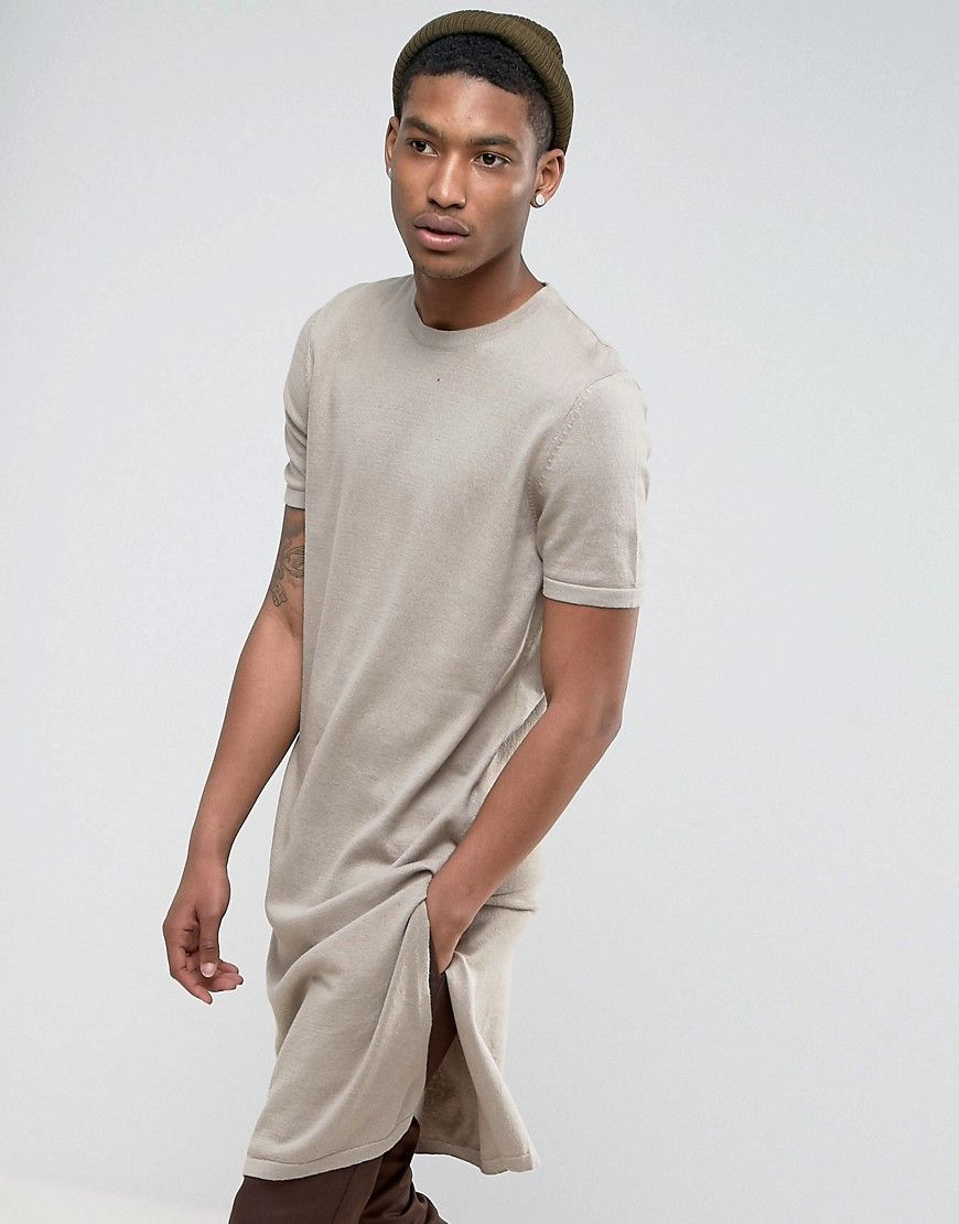 0b655f9947dd ASOS Extreme Longline Knitted T-Shirt with Side Splits in Oatmeal - Be