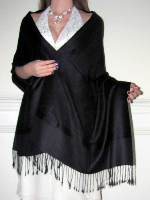 Dark grey shawls look classy for the cooler fall/winter evening wear ...