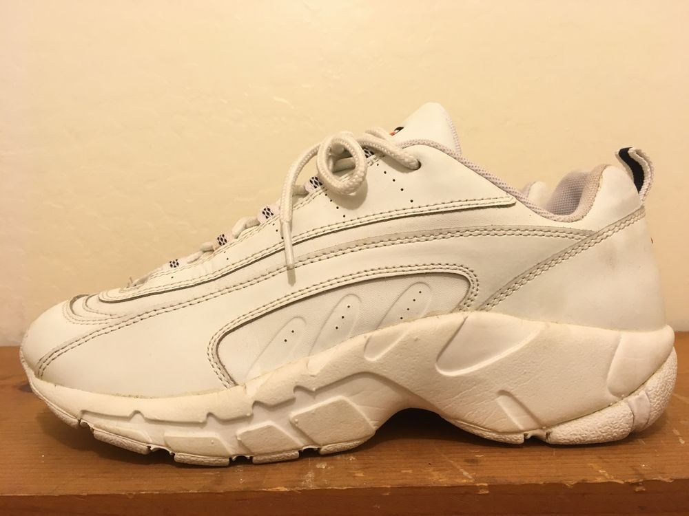 lowest price 0fb5b 6105b Vintage Raptor Fila Retro Shoes Mens Size 10 9 Unisex All White Hip hop  Throwbac FILA AthleticSneakers