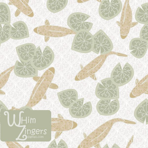 A digital repeat pattern for seamless tiling. #repeatpattern #seamlesspattern #textiledesign #surfacepatterndesign #vectorpatterns #homedecor #apparel #print #interiordesign #decor #repeat #pattern #repeat #seamless #repeating #tile #scrapbooking #wallpaper #fabric #texture #background #whimzingers #koi #pond #water #lilies #waterlilies #leaf #leaves #lily #fish #animals #gold #green #white #asian #japanese