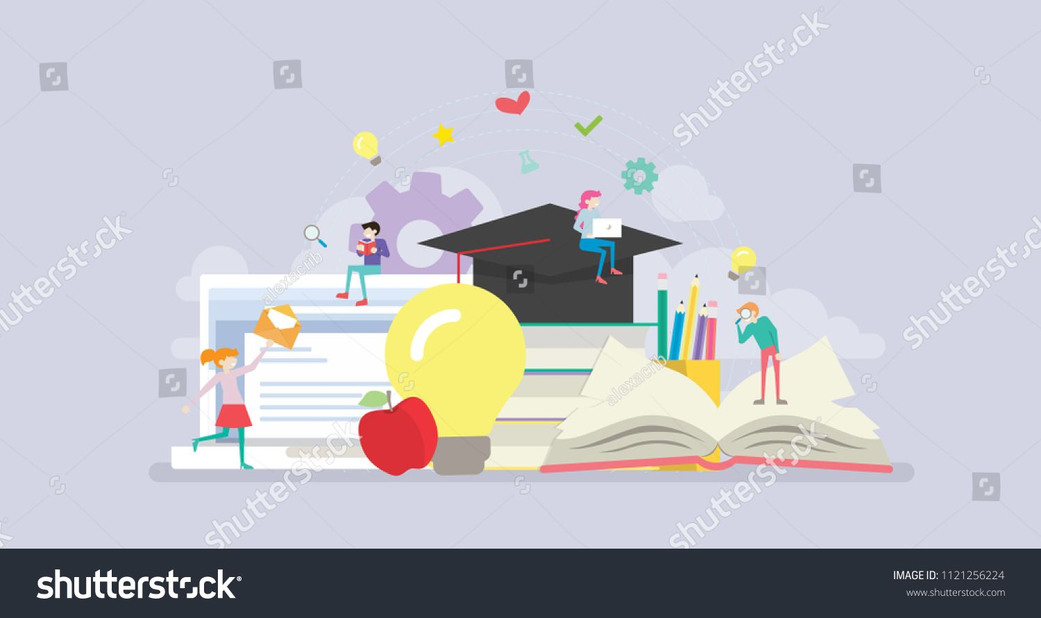 Online Distance Learning Education Tiny People Character Concept Vector Illustration Suitable Character Concept Distance Learning Education Book Illustration