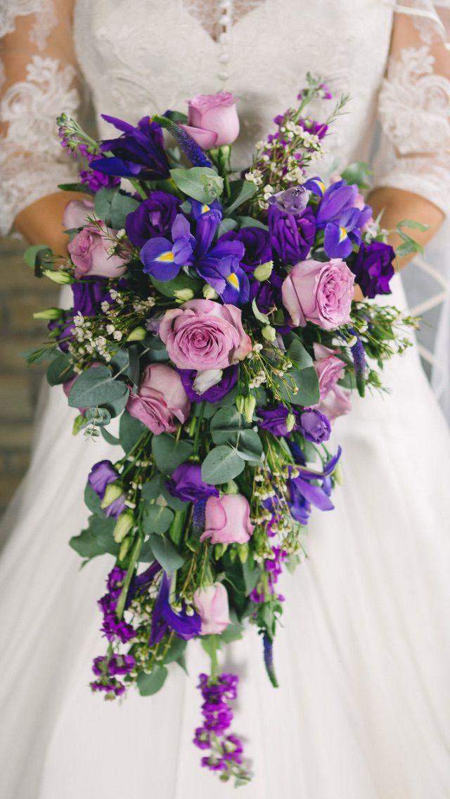 Bouquet Sposa Iris.Iris Shades Of Purple Rustic Cascade Bouquet Cascading Wedding