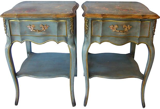 One Kings Lane   French Country Style   Louis XV Style Side Tables, Pair  These Are My Nightstands!