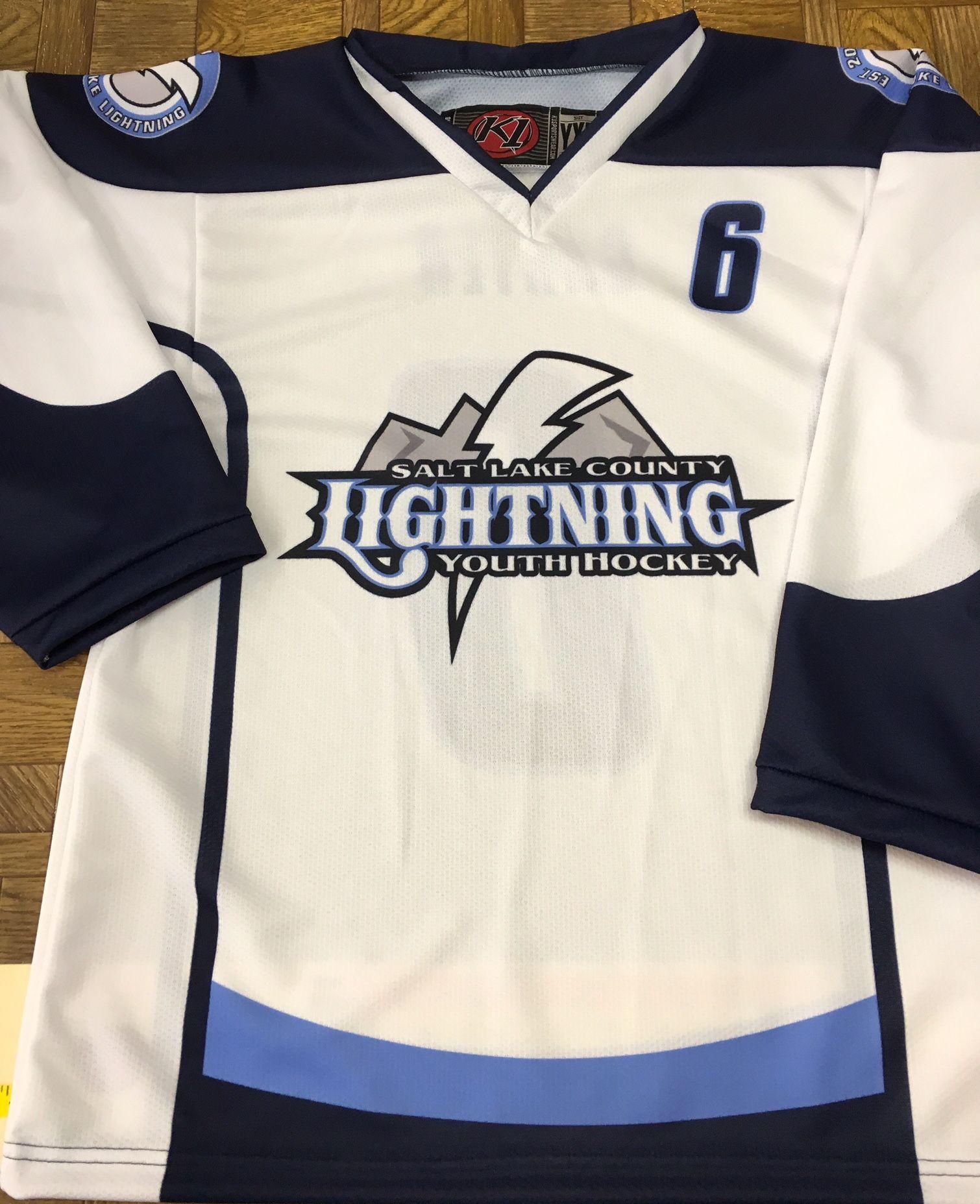 Salt Lake County Lightning custom sublimated hockey jerseys. Made in the USA f95eb77727997
