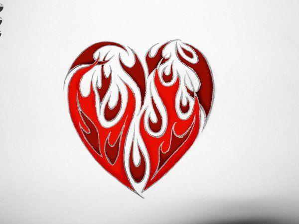 stylizing fire w tribal designs not in a heart shape tattoo fire