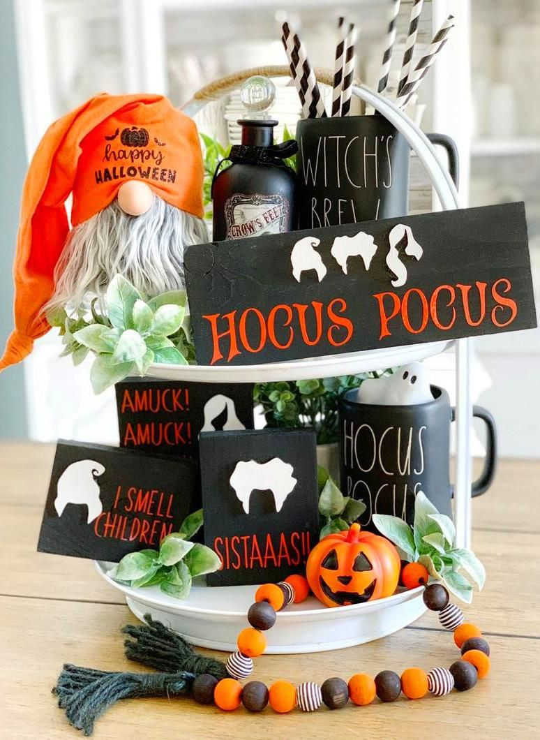 perfect for Rae Dunn displays tiered trays and farmhouse decor Spooky Hocus Pocus Halloween Gnome