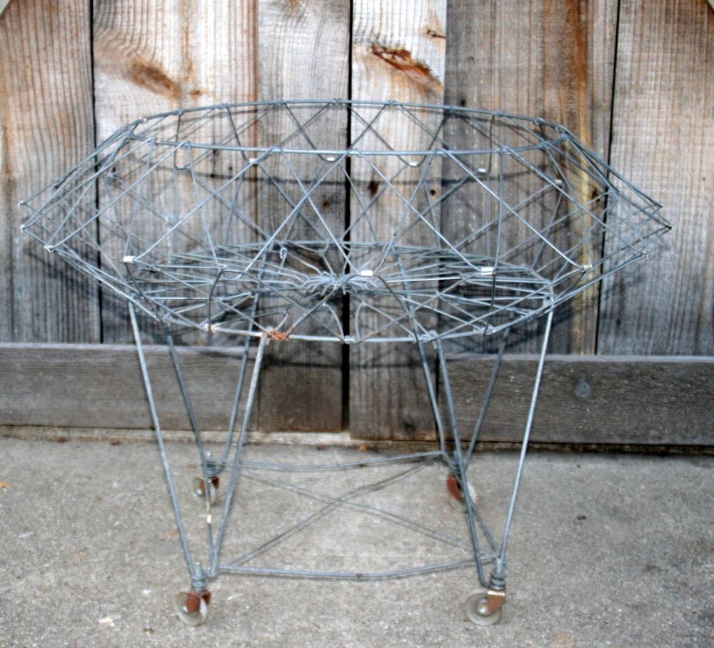 Vintage Antique Industrial Wire Collapsible Laundry Basket Cart ...
