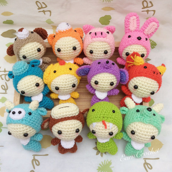 The 12 Animals of the Chinese Zodiac,amigurumi zodiac,mini crochet ...