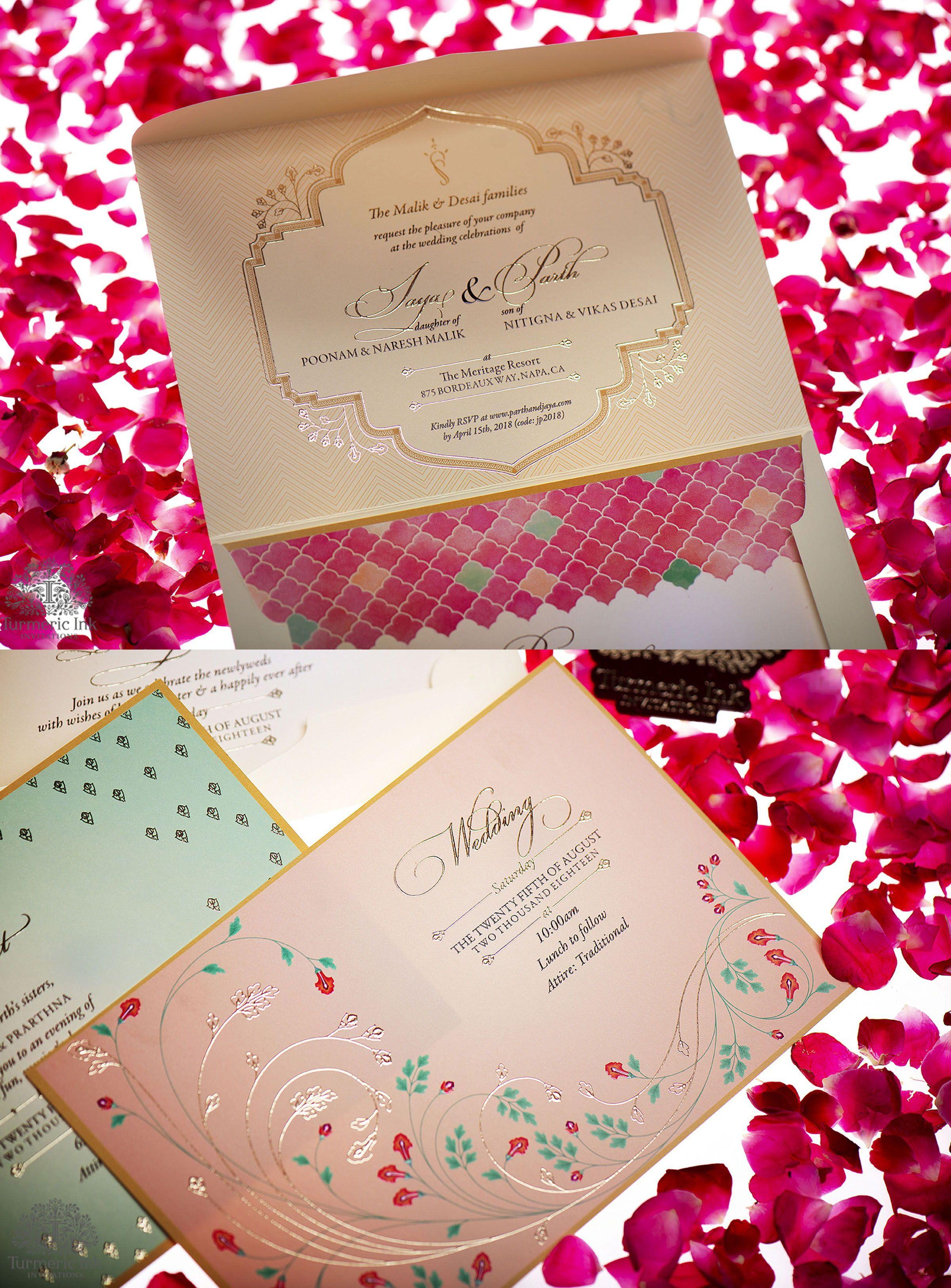 Modern Floral Wedding Invite invite, invitations, Indian ...