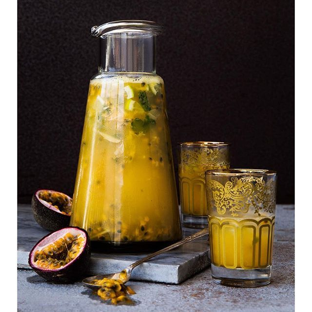 Passion Fruit Cocktail Muddled With Mint And Vodka. Get
