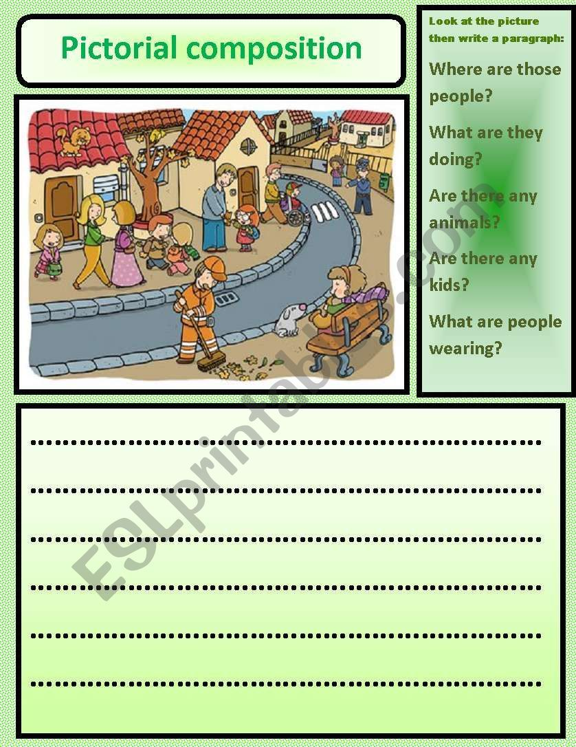 Pictorial Composition Esl Worksheet By Nora85 Worksheets Composition Writing Vocabulary Worksheets [ 1086 x 838 Pixel ]