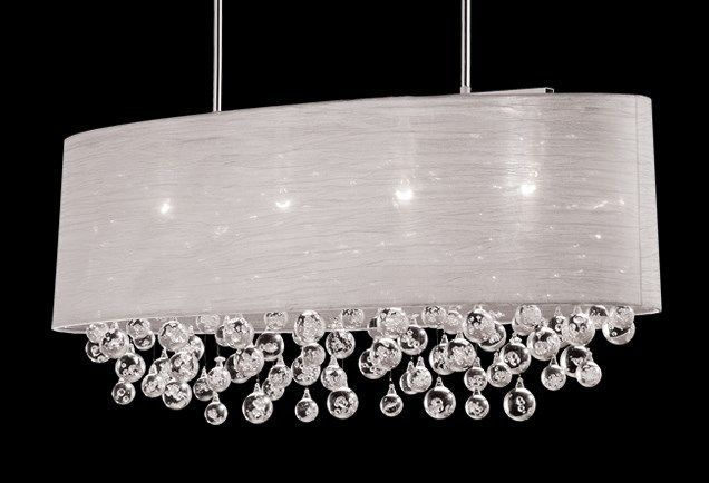 New 4 lamp chandelier dia36 oval drum shade bubble chrome crystal ceiling light