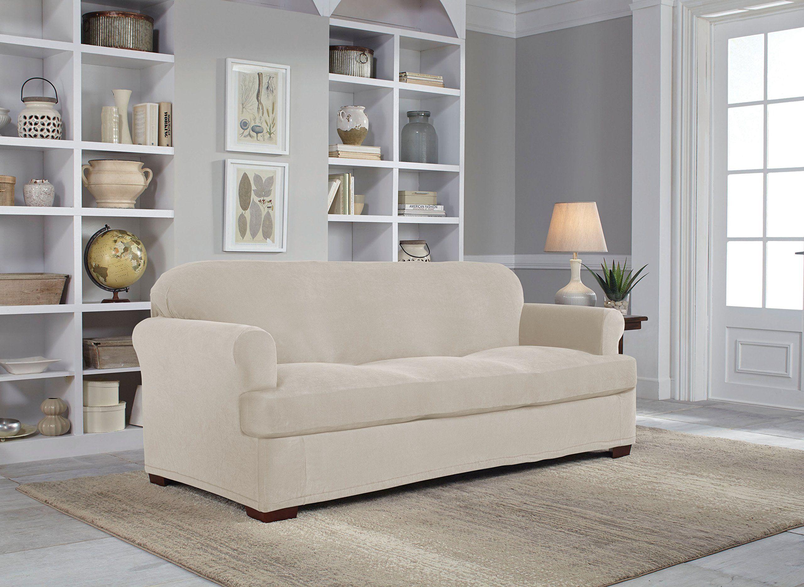 Serta 2 Piece Stretch Grid T Sofa Slipcover Putty * Read